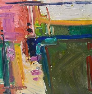 JOSE TRUJILLO ORIGINAL Oil Painting ABSTRACT Expressionist Pink Green Decor COA