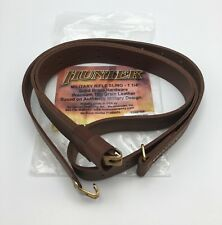 "Hunter Co. Military Rifle Sling, 1.25"" Swivels, Brown Leather & Brass, 200-125"