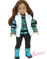 """Doll Clothes 18"""" Pants Top Vest Boots Teal Sophia's Fits American Girl Dolls"""