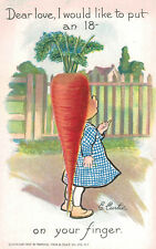 SIGNED E.Curtis,Rebus Postcard,Carrot,Tuck,Garden Patch Series,c.1909