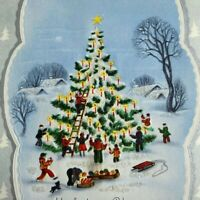 Vintage Mid Century Christmas Greeting Card Villagers Decorating Tree Candles