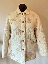 Rare Women's Cream Color Lauren Ralph Lauren Equestrian Print Jacket Sz Medium