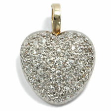 England Um 1910: Wonderful Diamond Heart in Gold & Platinum, Clip Pendant