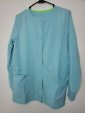 New ScrubStar Women's Button Front Scrub Jacket Extra Small Green Sage Pockets