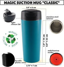 MAGIC SUCTION MUG Classic Teal ✈ Travel coffee cup for all Mighty Hikes +GIFT🎁