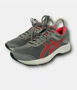 Asics Gel Contend 6 Womens Size 6.5 Wide Gray & Pink Low Top Running Sneakers