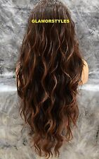 "39"" Long Beach Wavy Off Black Auburn Mix Full Lace Front Wig Heat Ok Hair Piece"