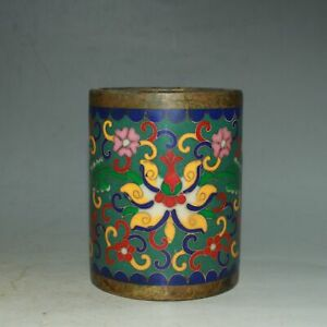 Collect China Cloisonne Enamel Bronze Twisted Branches Lotus Flower Brush Pot