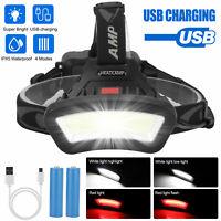 USB Rechargeable COB LED Headlamp Headlight Torch Flashlight 4 Modes Work Light