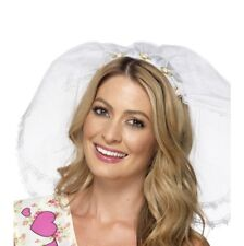 White Veil With Headband Hen Night Bride to Be Fancy Dress Party Wedding 21820