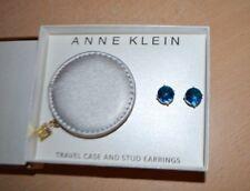 Travel Case Gift Box Set New Anne Klein Silver Blue Stud Earrings &