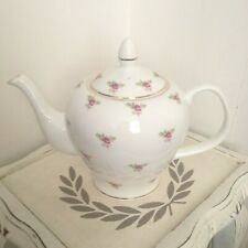 VINTAGE inspired PINK ditsy ROSE large 6 cup bone china TEAPOT