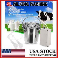 5L Electric Milking Machine Vacuum Impulse Pump Stainless Steel Cow Milker # Us