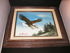Eagle Original Oil Painting On Canvas Framed And Signed By Artist W. Amadio