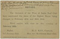 West of India Turf Club 1912 notice about Rajkot Races to the Ruler of Jasdan