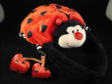 Lady Bug Purse Plush Stuffed Animal Zipper Hearts Bling Red Black Childs Girls