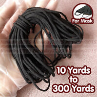 3mm Black Round Spandex Elastic Cord Band For DIY Face Mask 10 - 300 Yards