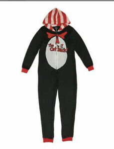 NEW Adult The Cat in The Hat Pajamas One Piece Union Suit Small Fleece