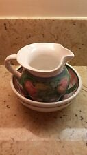 HEAVY CALECA HAND PAINTED POTTERY PITCHER AND BOWL MADE IN ITALY