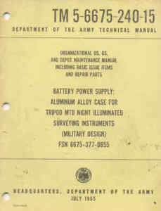 TM5-6675-240-15 Battery Power Supply Repair Maintenance Operators book US Army