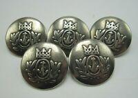 """Lot of 5 Heavy Vintage Metal Button Anchor & Crown with Fleur de Lis 7/8"""" Dia T5"""