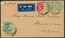 India 1937 Air Mail Bombay to Switzerland Pair KGV 4a  KGV 1/2a  KGVI 1a