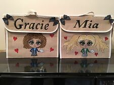 HAND PAINTED PERSONALISED JUTE BOOK BAGS ANY NAME OR UNIFORM GIFTS FOR ALL AGES