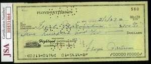 Floyd Patterson JSA Coa Autograph Hand Signed 1960`s Check