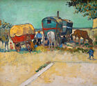 """The Gypsy Camp by Vincent Van Gogh, Giclee Canvas Print, 8""""x9"""""""