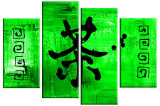 Large Lime Green & Black Chinese Writing Canvas Picture Split  4 panel 100 cm