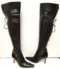 37.5 7 Jimmy Choo Black Leather Over The Knee Thigh High Corset Lace Back Boots