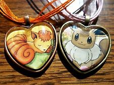 Pokemon Trading Card Neo Vulpix Eevee Charm Heart Pendant Glass Necklace Cosplay