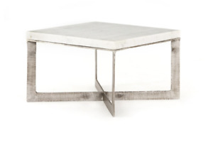 """25"""" Cristina Bunching Coffee Table Aluminum X Base Brushed Nickel Marble Top"""