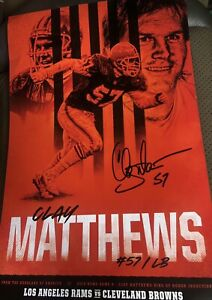 Clay Matthews Game Poster Cleveland Browns vs Rams Sept 2019 11x17