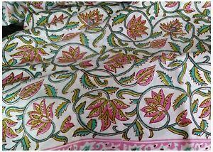 Pink and Green Floral Hand Blocked Fabric Cotton Dress Material Kalamkari Print