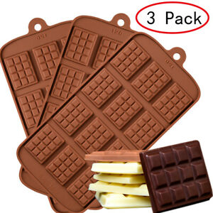 3 Pack Mini Chocolate Block Silicone Mold Candy Ice Tray Cake Decorating Mould