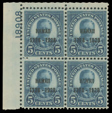 1928 5c HAWAII TOP LEFT PLATE #18908 BLOCK MINT #648 well-centered MHR extremely
