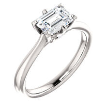 1.5ct Emerald Cut VVS1 D Diamond Solitaire Engagement Ring 14k White Gold Over