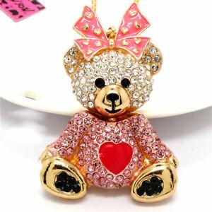 Cute Pink Rhinestone Bow Lady Heart Bear Pendant Betsey Johnson Women Necklace