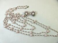 """Vintage Retro 4 multi strand chain linked beaded necklace 20"""" clip earrings"""