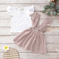 2PCS Kid Baby Girl Romper Ruffled Top Shirt+Strap Skirt Suit Outfits Set Clothes