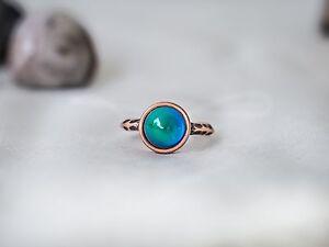 Antique Rose Gold Plating Circle Stone Mood Ring
