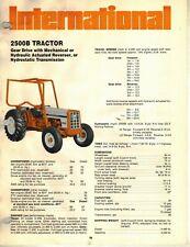 International Vintage 2500B Tractor Specifications Brochure