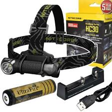 New Nitecore HC30 Cree LED 1000 Lumen headlamp w/rechargeable Battery & Charger