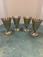 """Vintage! 4/STIEFF Hand Cast Pewter P 55 ~ Wine/Water Goblets 8oz.~ 5-3/4""""Tall"""