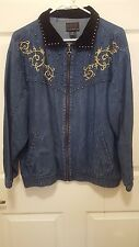 Women's Mureli Denim Jacket with gold embroidery velvet collar size L zip front