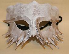 Blanc serpent dragon masque fait main cuir vénitien masquerade blanc/or