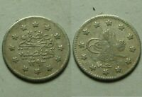 Genuine Islamic silver coin/Ottoman Emp Abdul Hamid Turkey Istambul 1293 AH 1878
