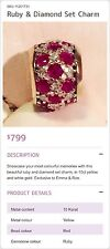 10K Michael Hill Emma & Roe Charm With Ruby And Diamond, RRP$799