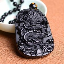 Natural Amulet Black Lucky Necklace Obsidian Carving Dragon Pendant